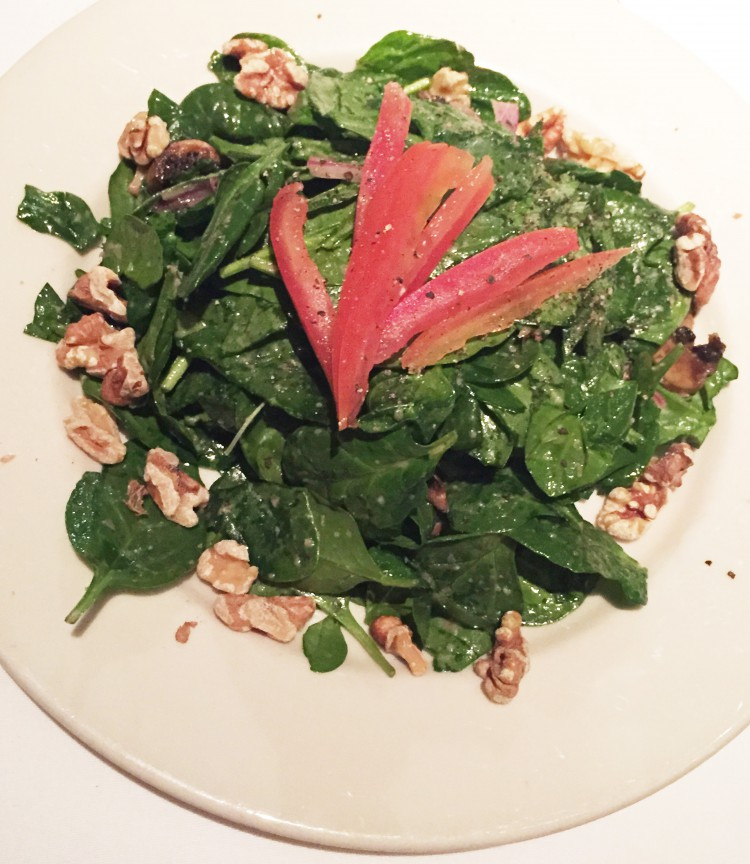 warm spinach with walnuts and mushrooms salad salad warm spinach